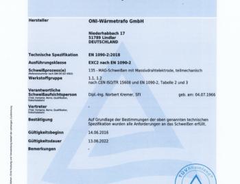 Schweißzertifikat ONI 2022